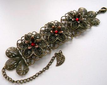 Vintage style bracelet, Vintage filigree bracelet, Vintage brass bracelet, vintage cuff bracelet, vintage flower bracelet, Victorian jewelry