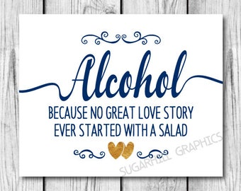 Wedding Sign, Printable Wedding Alcohol Sign, Navy Blue Gold White Wedding Sign, Wedding Decor, Wedding Signage , Instant Download