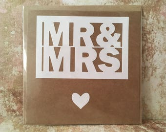 Mr & Mrs Wedding card just married