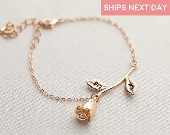 Custom Rose Bracelet Mothers Day Gift Charm Bracelet Personalized Bracelet Beauty And The Beast Jewelry Girlfriend Gift - 3MRBR