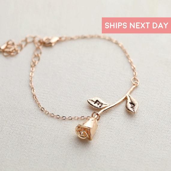 custom rose bracelet mothers day gift charm bracelet. Black Bedroom Furniture Sets. Home Design Ideas