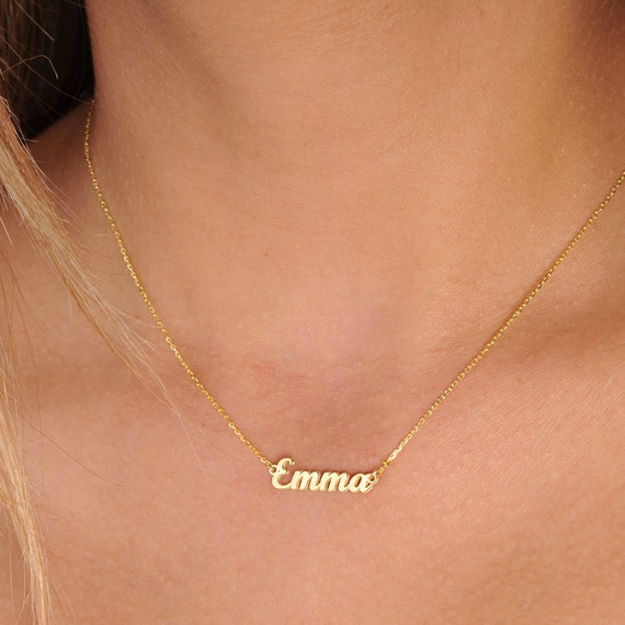 Tiny gold name necklace personalized necklace name aloadofball Image collections