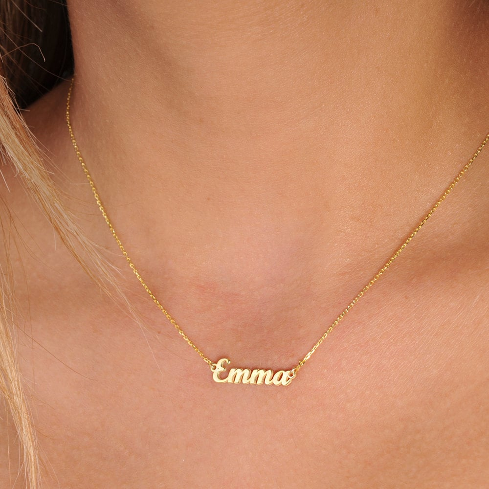 jewelry persjewel necklace fashion our heart gold chains solid collection baby custom with vertical personalized name