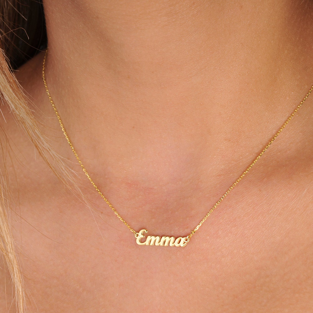 with disc dainty sterling filled jewelry silver products simple handstamped name date cursive birthdate baby necklace rose gold initials