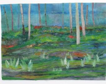 Art Quilt Wallhanging Forest Ferns