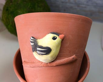 Terra Cotta Planter with Goldfinch Design (Ready to Send)