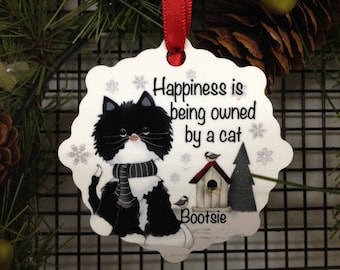 Happiness is being owned by a Cat, Cat Ornament, Cat Ornaments, Cat Snowflake Ornament, Stocking Stuffer, Gifts Under 10, Pat Isaac