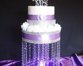 French Pendant Drop Acrylic Crystal Cake Stand with LED Light