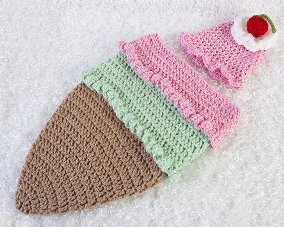 Ice Cream Cone Cocoon And Hat Pattern