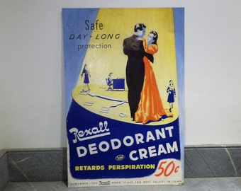 Women's Cosmetics and Personal Care Display Sign, Retro Advertising, Mid Century