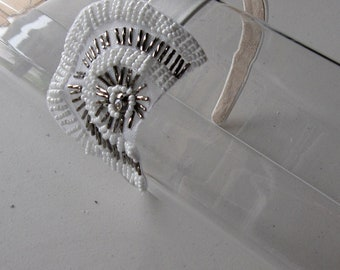 White and Silver Beaded Flower Applique Satin Headband, for weddings, parties, special occasions