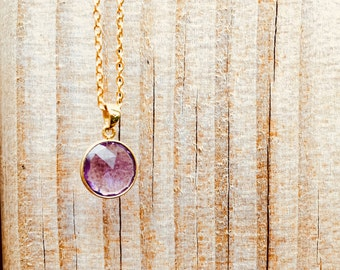 February Birthday Charm Necklace. Amethyst Birthstone Necklace. Gold or Silver Necklace. Amethyst Necklace. Recycled Necklace.
