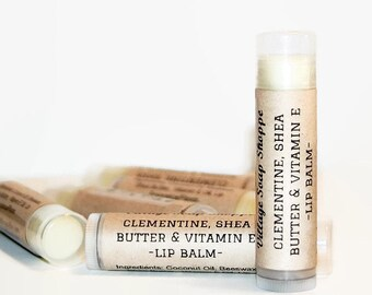 Clementine Lip Balm, Homemade Lip Balm, Shea Butter, Vitamin E, Beeswax Lip Balm, Moisturizing Balm, Natural Lip Balm, CLEMENTINE BALM