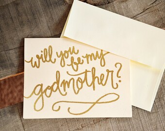 Will you be my godmother card with poem gold glitter will you be my godmother card godfather card godparents card glitter embossed handwritten calligraphy godparent card baptism gift m4hsunfo
