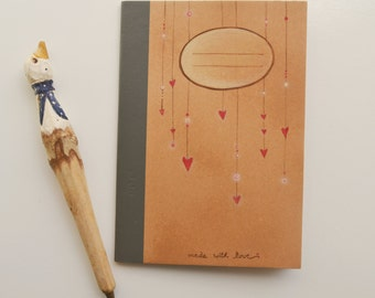 """Exercise book """"Hearts"""" hand painted, notebook unique piece"""