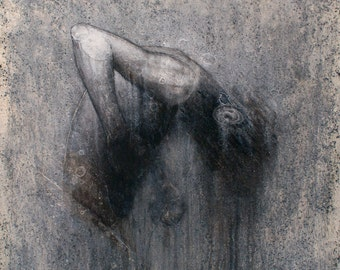 """Apocalyptic, Fine Art, ORIGINAL, Surreal, Oil & Charcoal Painting, Last Breath, 30""""x30"""" On Canvas"""