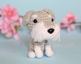 Schnauzer dog. Kawaii Amigurumi dog doll. Handmade Crochet toy plush. Keychain