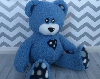 Teddy Bear - Blue Teddy Bear - Minky Teddy Bear