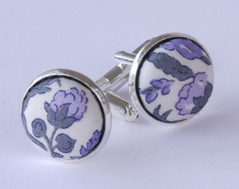 Floral Liberty Cufflinks - Liberty tana lawn Meadow lilac cufflinks - silver cufflinks - lilac and grey floral cufflinks