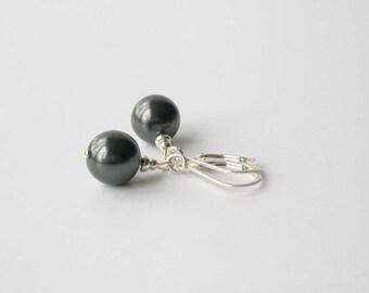 Black Pearl Earrings, Pearl and Sterling Earrings, Bridesmaid Jewelry, Pearl Drop Earrings, Black Jewelry, Pearl and Silver Dangle Earrings