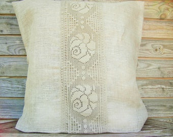 Gray Linen Pillow Cover, Gray Lace Throw Pillow 16x16 inch, Decorative Pillow, 100% Pure linen Shams, Handmade Customizable Cushion