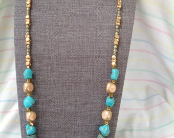 Turquoise and Cream Nuggets Necklace