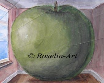 Original watercolor. Apple folded. Any after Magritte