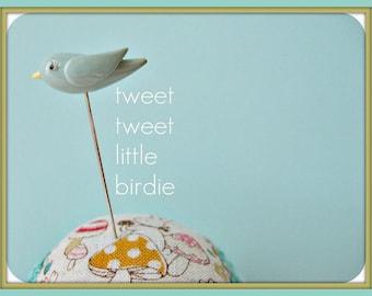 Tweet Tweet Little Aqua Birdie Pin Topper