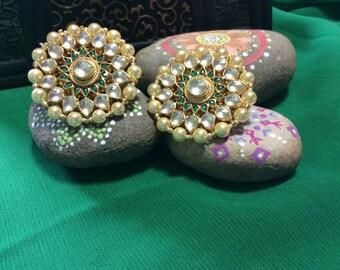 Gold Plated Pearl & Kundan Earrings Tops