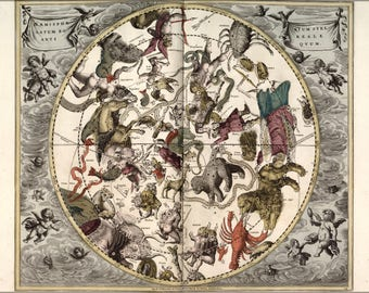 Poster, Many Sizes Available; Map Of Constellations Zodiac Astrology 1708