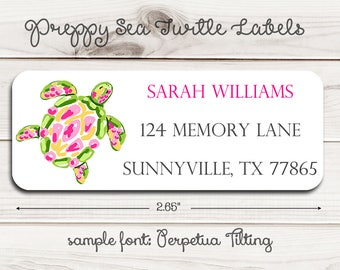Preppy Sea Turtle Return Address Labels