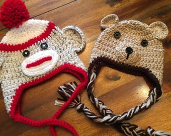 Sock Monkey or Brown Bear Crochet Hat