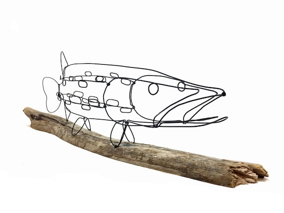 Fisch Draht Skulptur Hecht Skulptur Fisch-Draht-Kunst