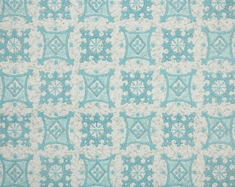1950's Vintage Wallpaper by the Yard - Blue and White Geometric