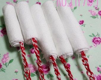 Reusable Tampons, Set of 5 Washable Tampons, Mama Cloth