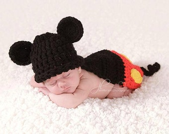 Crochet Boy Mouse Cape Set Newborn or 3-6 Mo MADE TO ORDER Photography Prop