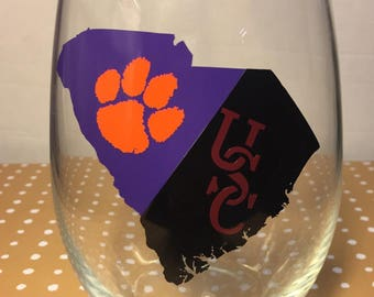 House divided University of South Carolina and Clemson university tigers wine glass this listing is for ONE WINE GLASS