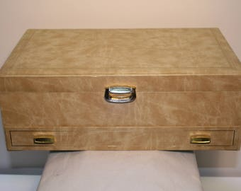 Vintage Mele Jewellery Box w/Drawer - Peach and Brown Interior -