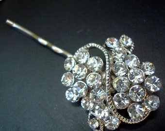 Bridal Rhinestone Hair Pin, Wedding Rhinestone Hair Pin, Rhinestone Silver Hair Pin, Wedding Rhinestone Hair Pin, Wedding Jewelry, HELEN