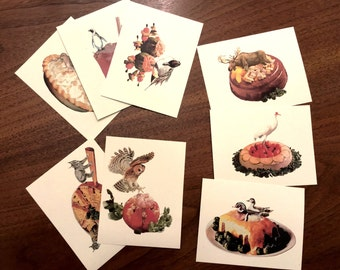 Postcard, Set of 8 in Milkweed, collage art cards