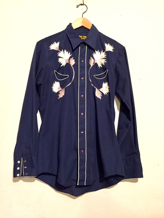 80s Navy Embroidered Western Shirt