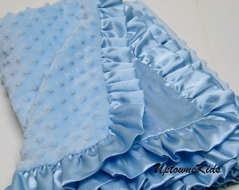 Blue Minky Blanket with satin back and ruffle or band Personalized Monogram Baby Toddler