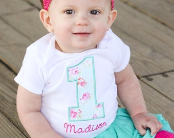 Girls First Birthday Shirt - Girls First Birthday Outfit - First Birthday Girl Shirt - Shabby Chic Birthday Shirt