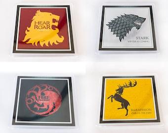 Set of 4 Game Of Thrones (Stark, Targaryen, Lannister, Baratheon) Coasters (Gift Boxed)