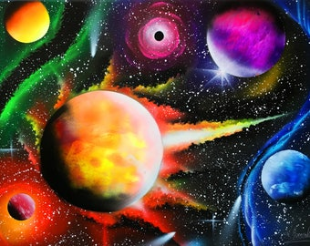 Space art Abstract Painting Unique painting Unique gift Art painting Christmas gift Halloween Planet painting Canvas Art Living room decor