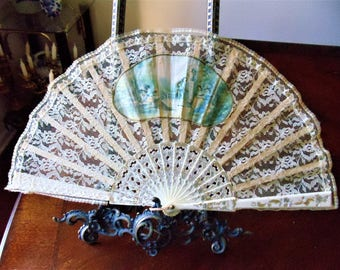 Antique Unique Spain Hand Fan, Celluloid Guards & Blades Wooden Ribs Antique White Lace w/Hand-Painted Silk Applique Folding Hand Held Fan
