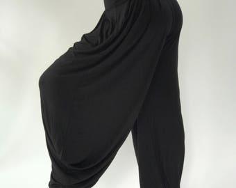 YG0098 Solid Black yoga pants, Super Soft Spandex Harem Yoga Pants, perfect fit, in Navy