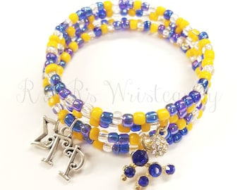Blue and Gold Beaded Bracelet, Sorority Bracelet, Coil Beaded Bracelet, Memory Wire Bracelet, Handmade, Beaded Jewelry, Women's Jewelry