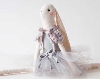 Bunny Ballerina Emma Doll, Fabric Doll, Gift For Girl
