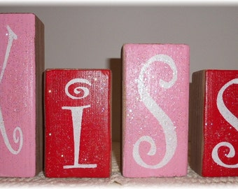 Valentine's Day Kiss Blocks Kiss Wood Blocks Set Pink And Red Valentine's Day Glitter Blocks